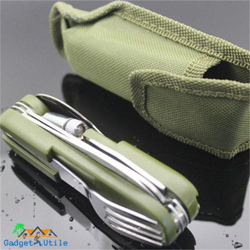 Couteau Multifonction avec couverts et lumière - Boutique Gadget Utile